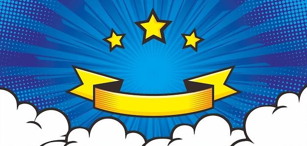 Wybuch komiksu niebieskie tło z gwiazdą