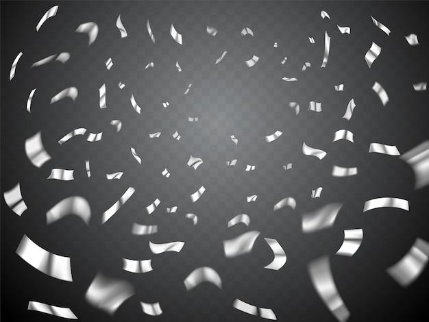 Wybuch konfetti na przezroczystym tle. białe, szare metalowe, realistyczne rozproszone konfetti. wiele spadających drobnych konfetti, tło uroczystości z konfetti
