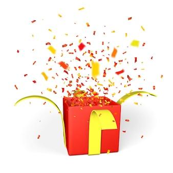 Wybuch konfetti z otwartego czerwonego pudełka z żółtą wstążką na białym tle