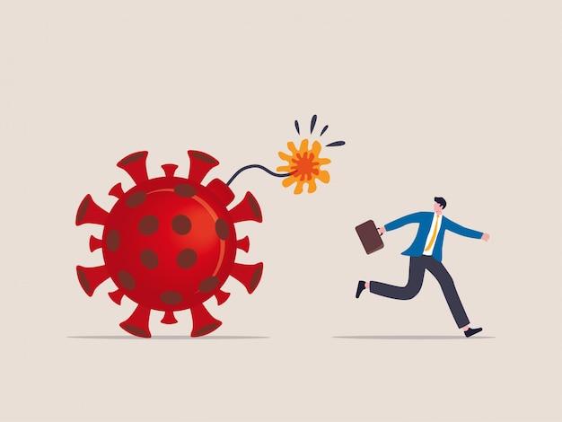 Wybuch koronawirusa covid-19 niszczy finanse i biznes, świat pandemii wirusów odlicza koncepcję detonacji, biznesmen ucieka przed detonacją odliczając wirus patogennej bomby.