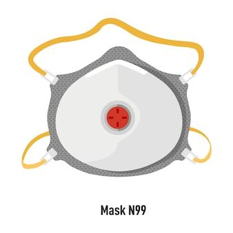 Wybuch koronawirusa i opieka zdrowotna, izolowana maska na twarz n99 dla bezpieczeństwa podczas pandemii. sprzęt z filtrem do czystego powietrza bez alergenów i wirusów. środki ochronne, wektor w stylu płaskim