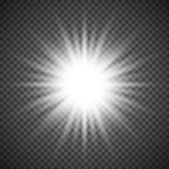Wybuch rozbłysku białego świecącego światła na przezroczystym tle