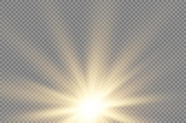 Wybuch słońca żółty blask światła promienie słoneczne flary efekt specjalny magia błyszczy złota gwiazda