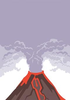 Wybuch wulkanu, dym i popiół wulkaniczny w niebo. gorąca lawa spływa po zboczu góry. ilustracja.