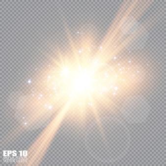Wybucha białe świecące światło. lśniące magiczne cząsteczki kurzu. jasna gwiazda. przezroczyste świecące słońce, jasny błysk.