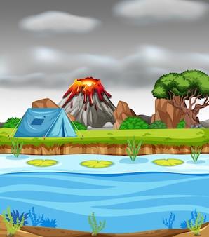 Wybuchające wulkan i pole namiotowe