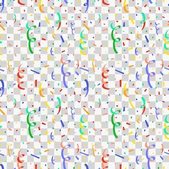 Wybuchający imprezowy popper z kolorowymi konfetti, płaski wzór na przezroczystym