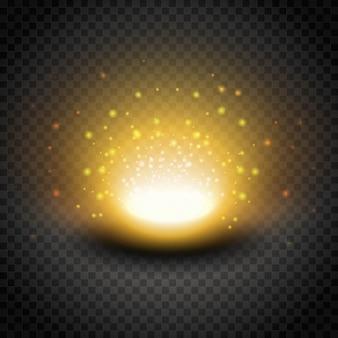 Wybuchowy efekt złotego połysku. jasne, słoneczne światło z błyskami. ilustracja na białym tle.