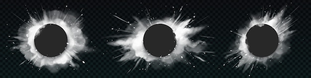 Wybuchy białego prochu z czarnymi okrągłymi transparentami.