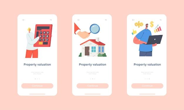 Wycena nieruchomości szablon ekranu aplikacji mobilnej na pokładzie. rzeczoznawcy postacie robią inspekcję domu. wycena domu, wartość nieruchomości, koncepcja oceny. ilustracja wektorowa kreskówka ludzie