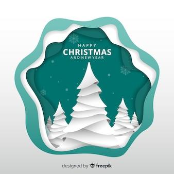 Wyciąć drzewa christmas tle