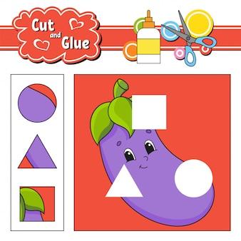 Wyciąć i przykleić. gra dla dzieci. arkusz rozwijający edukację. postać z kreskówki oberżyny.