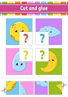Wyciąć i przykleić. puzzle kolorów.
