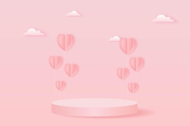Wyciąć papier szczęśliwy walentynki koncepcja. krajobraz z chmurą, balony w kształcie serca i podium w kształcie geometrii na stylu sztuki papieru tła różowego nieba.