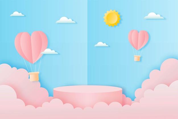 Wyciąć papier szczęśliwy walentynki koncepcja. krajobraz z chmurą, latające balony na ogrzane powietrze w kształcie serca i podium w kształcie geometrii na stylu sztuki papieru tła błękitnego nieba.