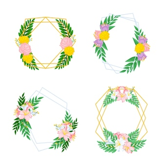 Wyciągnąć rękę kolekcja kwiatowy ramki