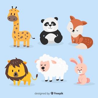 Wyciągnąć rękę kreskówka kolekcja zwierząt