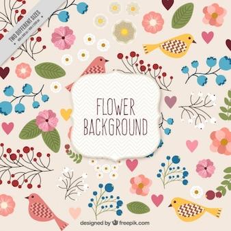 Wyciągnąć rękę kwiatowy bakground z ptakami