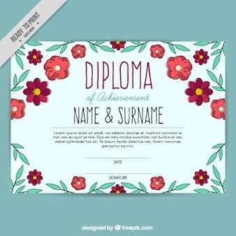 Wyciągnąć rękę kwiatowy szablon dyplomu