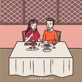 Wyciągnąć rękę romantyczną parę w restauracji