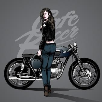 Wyciągnąć rękę seksowną dziewczynę z motocyklem tle