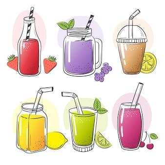 Wyciągnąć rękę smoothie. letnie zimne owoce napoje zdrowe płynne potrząśnij sokiem żywności do zdjęć szkicu wektorowego diety