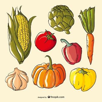 Wyciągnąć rękę wektor warzyw kolor