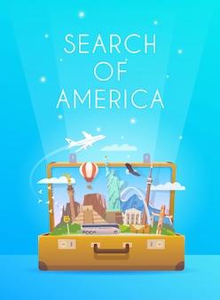 Wycieczka do ameryki południowej. podróż do ameryki południowej. wakacje. podróż samochodem. turystyka do ameryki południowej. baner pionowy podróży. otwórz walizkę z zabytkami. ilustracja podróży zamiłowanie do włóczęgi. płaski styl.