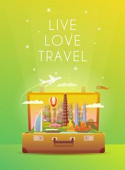 Wycieczka do azji podróż do azji. wakacje w azji. czas na podróż. podróż samochodem. turystyka do azji. baner podróży. otwórz walizkę z zabytkami. ilustracja pionowa podróż. zamiłowanie do włóczęgi. płaski styl.