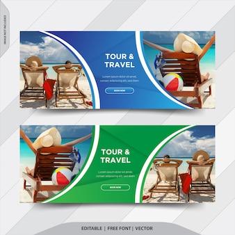 Wycieczka i podróże facebook obejmuje baner społecznościowy