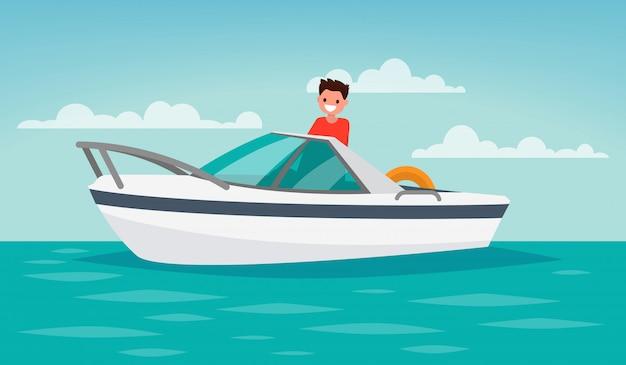 Wycieczka łodzią. rekreacja. mężczyzna kontroluje łódź.