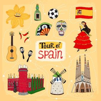 Wycieczka po hiszpanii, ręcznie rysowana ilustracja ze słynnymi zabytkami i tradycjami kulturowymi
