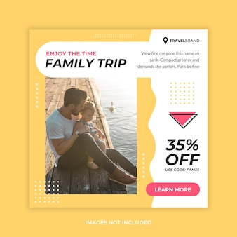 Wycieczka rodzinna social media banner post