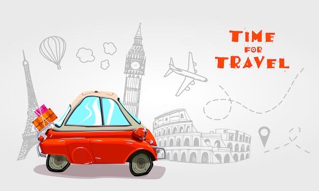 Wycieczka samochodem. podróżować samochodem.
