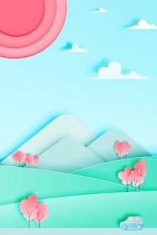 Wycieczka samochodowa z samochodem w wiosna sezonie i naturalnego pastelowego koloru planu tła papieru cięcia stylu wektoru ilustraci