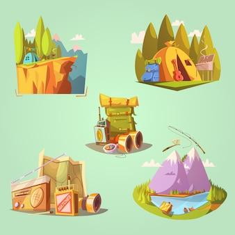 Wycieczkuje kreskówka ustawiająca z namiotową gitarą i jedzeniem na zielonym tle odizolowywał wektorową ilustrację