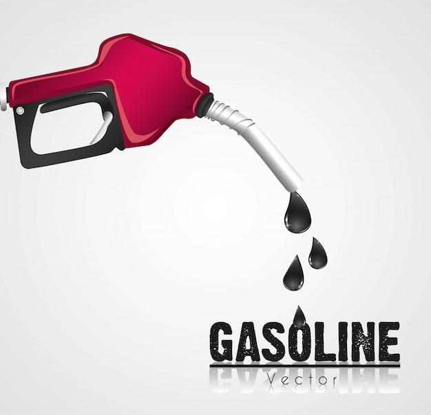 Wyciek dozownika benzyny jest na białym tle