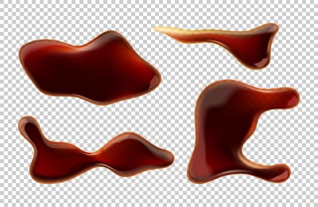 Wyciek kałuże sosu sojowego na białym tle