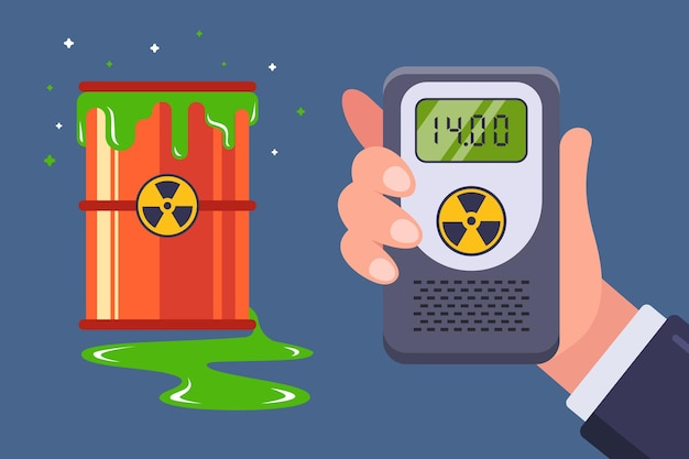 Wyciek odpadów radioaktywnych. pomiar za pomocą dozymetru promieniowania. płaska ilustracja.