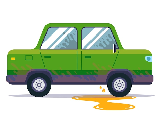 Wyciekający olej samochodowy z pojazdu. drobne naprawy w sedanie. płaska ilustracja wektorowa