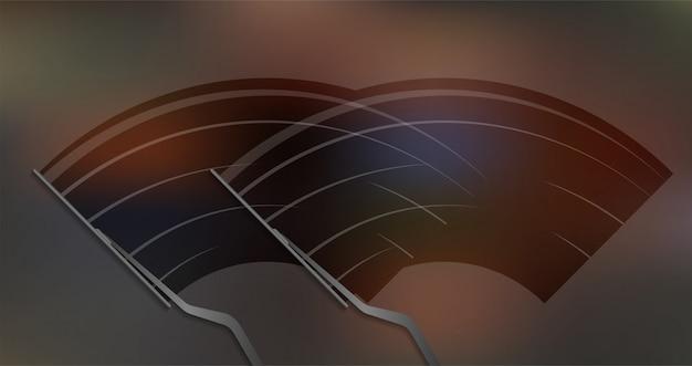 Wycieraczka samochodowa wyciera szybę, wycieraczka czyści przednią szybę. ilustracji