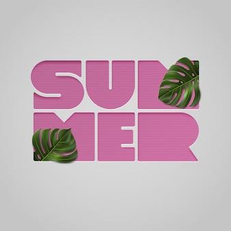 Wycięte z papieru różowe litery lato z tropikalnymi liśćmi na jasnoszarym tle. ilustracja z typografią i liściem monstera na koszulę, baner, sprzedaż, rabat, ulotkę, zaproszenie, plakat.