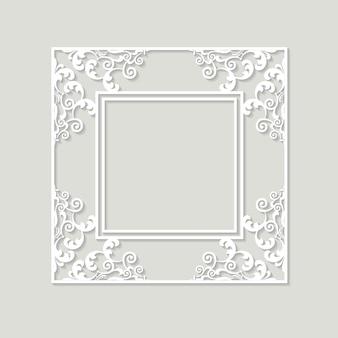 Wycięty filigranowy papier ramowy. barokowy wzór w stylu vintage.