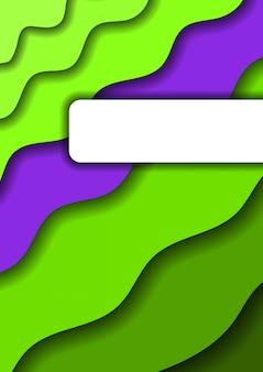 Wycięty z papieru pionowy baner z zielonymi warstwami i jedną fioletową warstwą