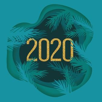 Wycinana warstwowo papierowa pocztówka noworoczna z gałęziami drzew i błyszczącym rokiem 2020