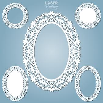 Wycinane laserowo abstrakcyjne owalne ramki z zawijasami, ornament, rama vintage. może być stosowany do cięcia laserowego. ramki na zdjęcia z koronką do cięcia papieru.
