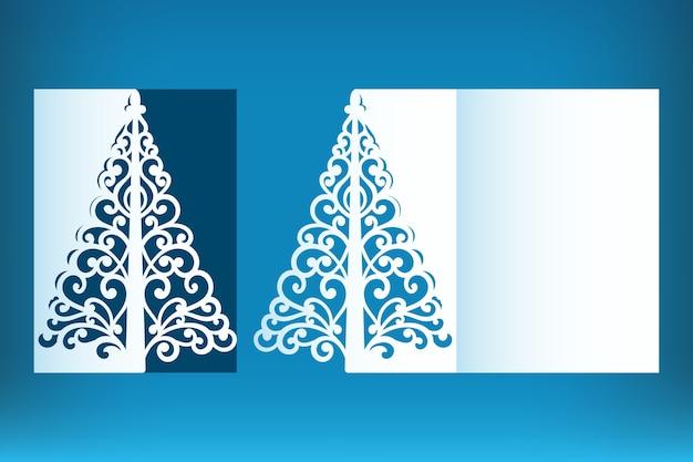 Wycinane laserowo szablon kartki świąteczne z życzeniami