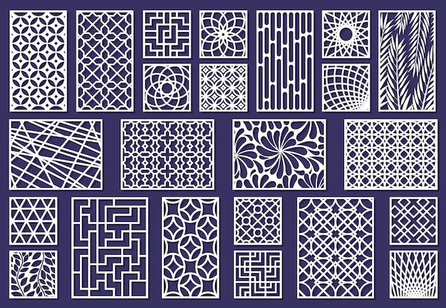 Wycinane laserowo szablony, grafikę papierową lub panele do cięcia metalu. streszczenie tekstura dekoracyjne wycinane laserem panele wektor zestaw ilustracji. cięcie paneli grawerujących