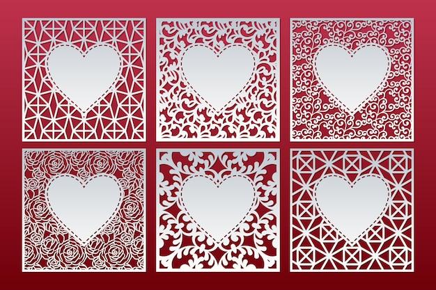 Wycinane laserowo wzorzyste karty w serduszka. szablony paneli kwadratowych.