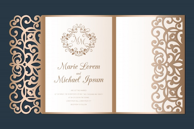 Wycinane laserowo zaproszenie na ślub tri-fold kieszonkowy szablon.